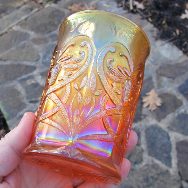 Antique Northwood Wishbone Marigold Carnival Glass Tumbler