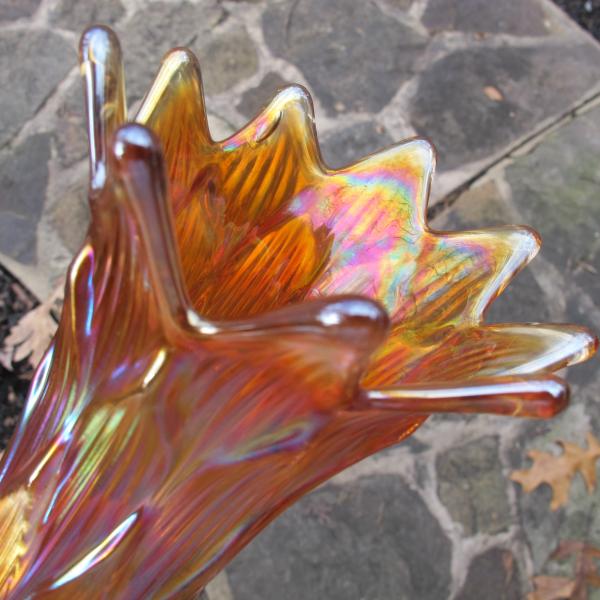 Antique Dugan Lined Lattice Marigold Carnival Glass Vase - SQUARE TOES