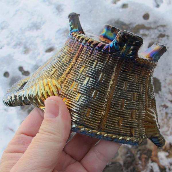 Antique Northwood Amethyst 8-sided Bushel Basket - RADIUM
