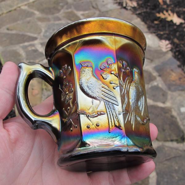 Antique Northwood Singing Birds Amethyst Carnival Glass Mug