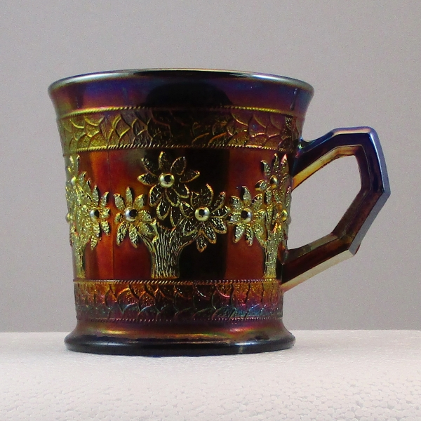 Antique Fenton Blue Orange Tree Carnival Glass Shaving Mug