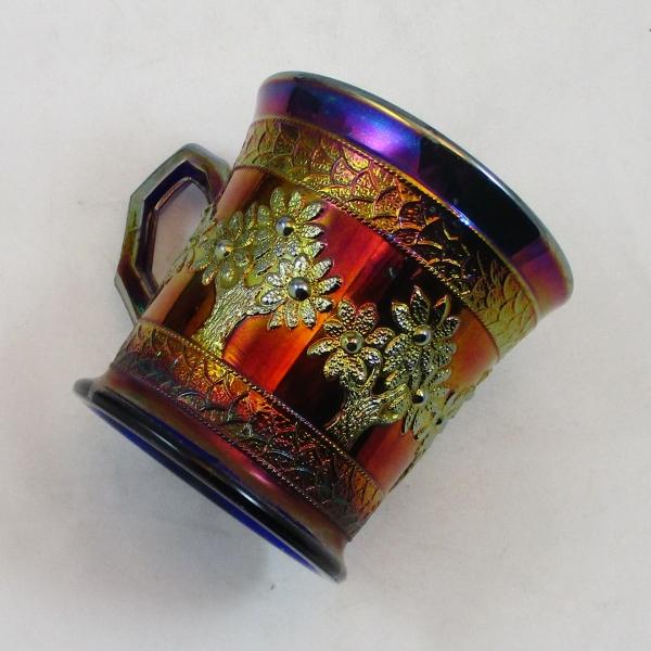 Antique Fenton Blue Orange Tree Carnival Glass Shaving Mug