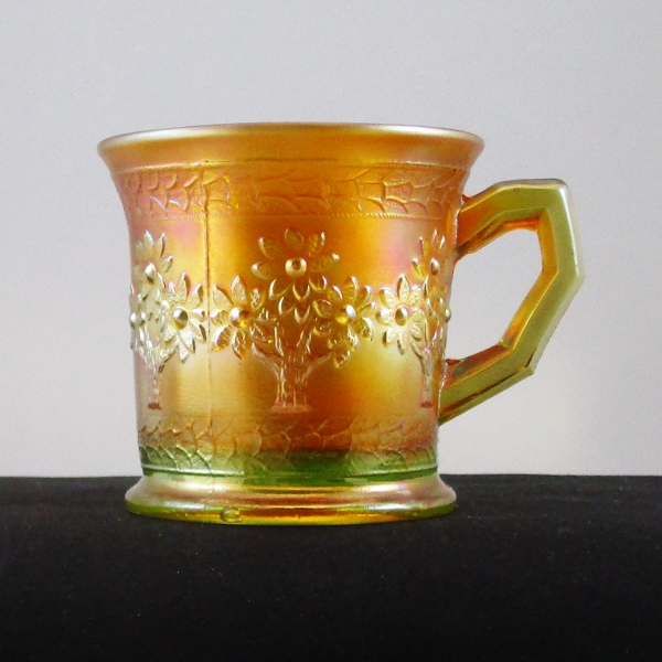 Antique Fenton Lime Green (Glows) Orange Tree Carnival Glass Mug