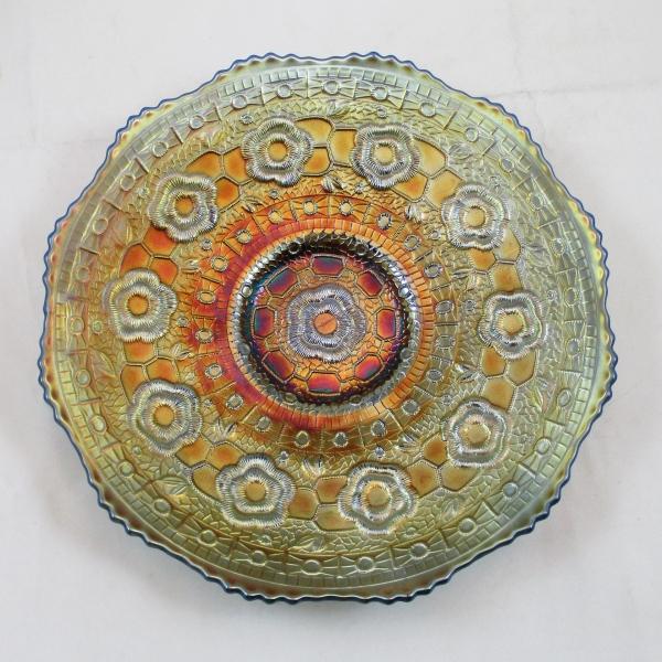 Antique Fenton Blue Captive Rose Carnival Glass Plate