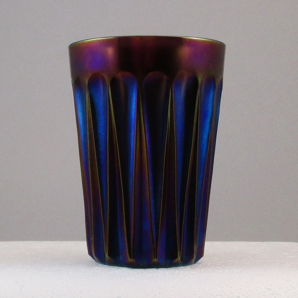 Antique Imperial Purple Cone and Tie Carnival Glass Tumbler