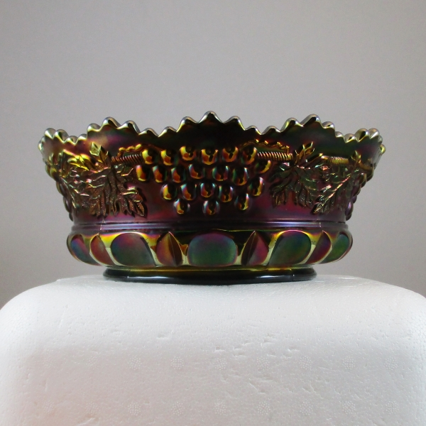 Antique Northwood Grape & Cable TP Amethyst Carnival Glass Master Berry Bowl