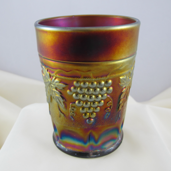 Antique Northwood Grape & Cable Amethyst Carnival Glass Tumbler – STIPPLED