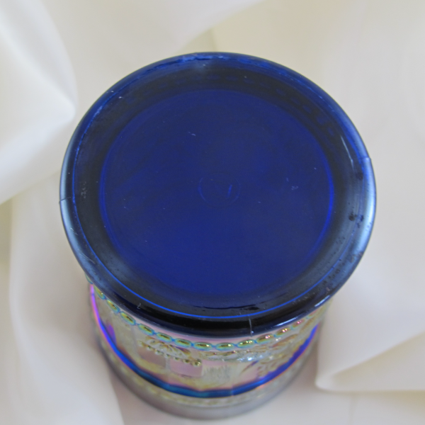 Antique Northwood Peacock at the Fountain Blue Carnival Glass Tumbler