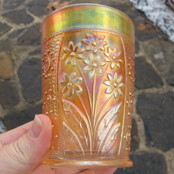 Antique Fenton Bouquet Marigold Carnival Glass Tumbler