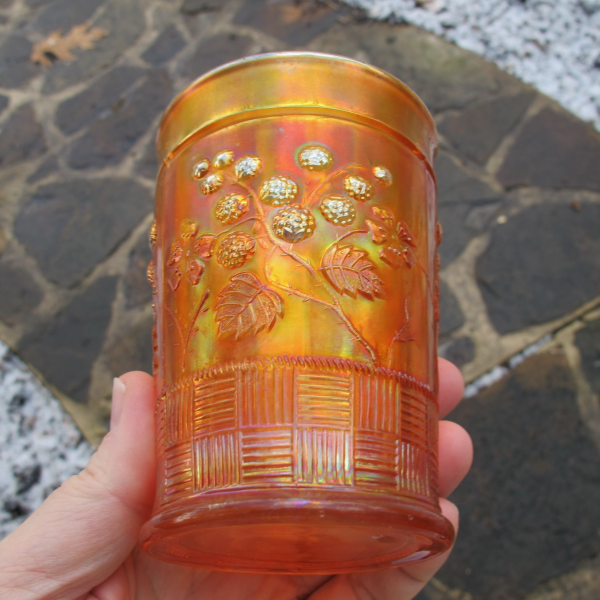 Antique Northwood Raspberry Marigold Carnival Glass Tumbler