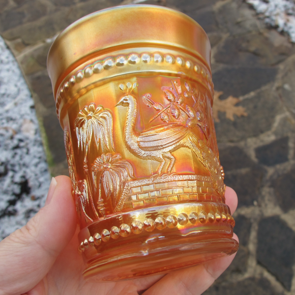 Antique Northwood Peacock at the Fountain Marigold Carnival Glass Tumbler