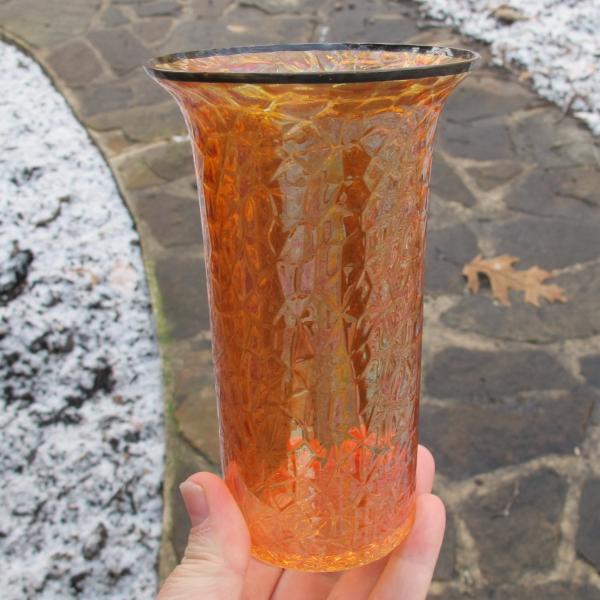Antique Czech? Halloween Marigold Carnival Glass (Art Glass) Tumbler