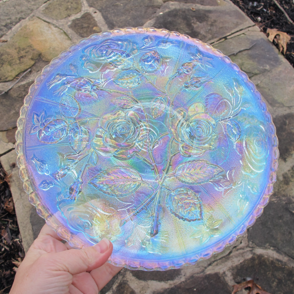 Imperial Open Rose Ice Azure Blue Carnival Glass Chop Plate