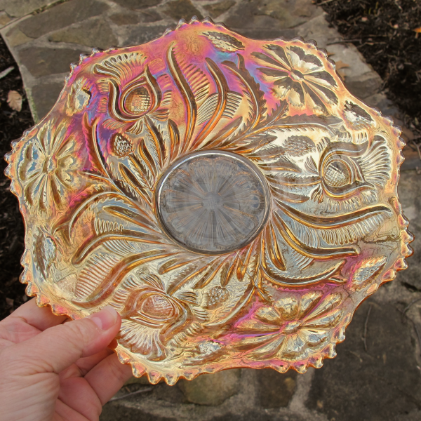 Antique US Glass Field Thistle Marigold Carnival Glass Plate