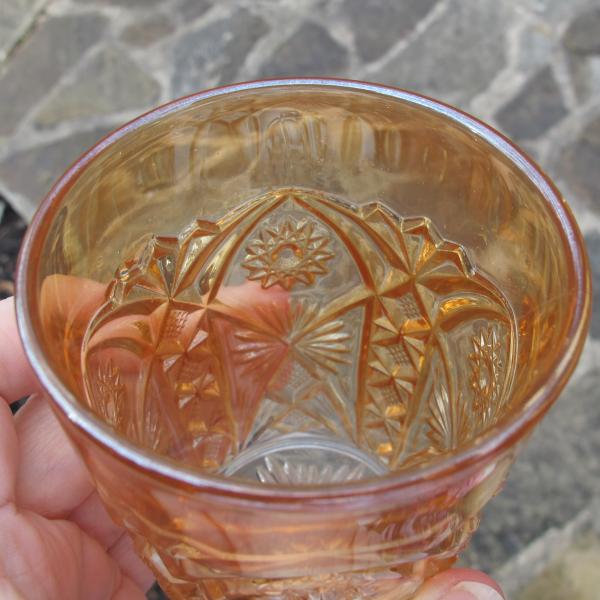 Antique Millersburg Pastel Marigold Marilyn Carnival Glass Tumbler Radium