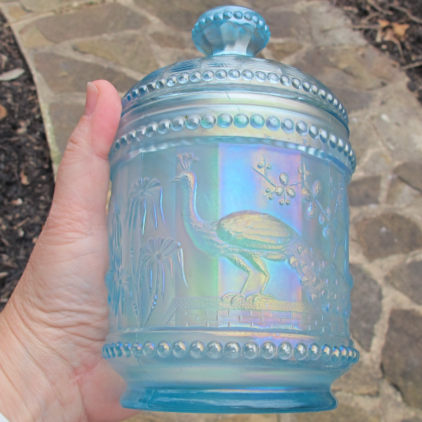 Antique Northwood Peacock at the Fountain Ice Blue Carnival Glass Sugar Bowl