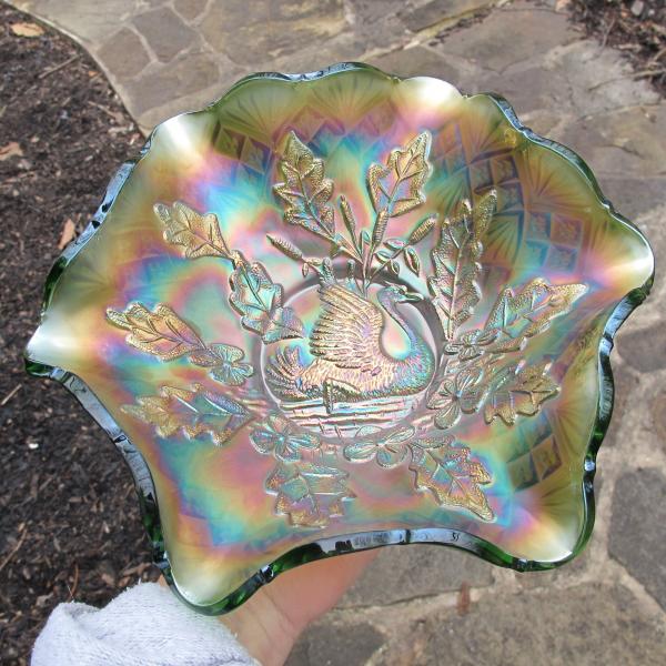 Antique Millersburg Nesting Swan Green Carnival Glass Deep Bowl
