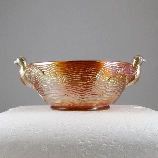 Antique Dugan Diamond Marigold Seagulls Carnival Glass Bowl