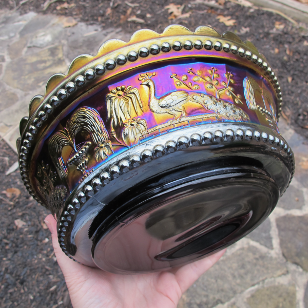 Antique Northwood Peacock at the Fountain Amethyst Carnival Glass Master Bowl