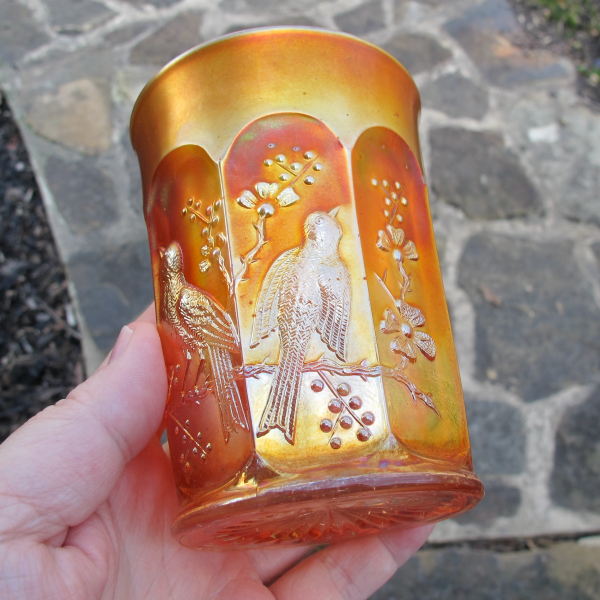 Antique Northwood Singing Birds Marigold Carnival Glass Tumbler