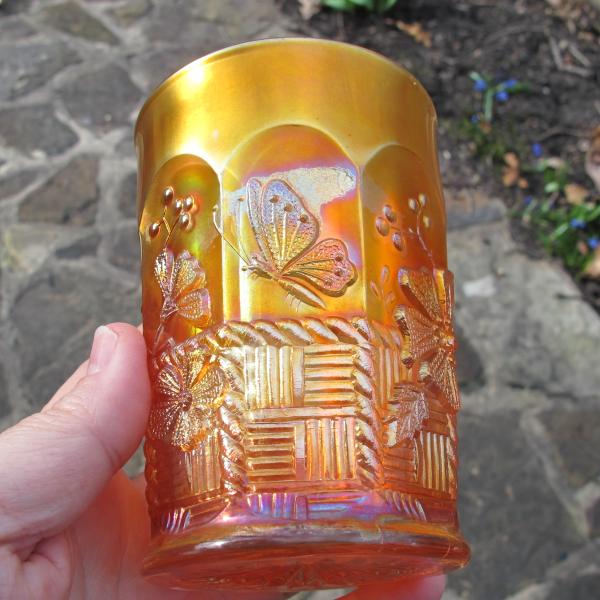 Antique Northwood Springtime Marigold Carnival Glass Tumbler