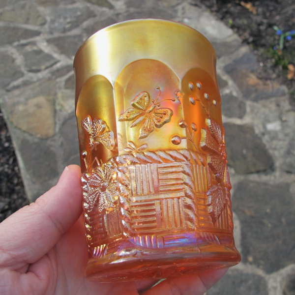 Antique Northwood Springtime Marigold Carnival Glass Tumbler