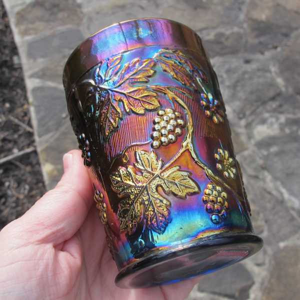 Antique Dugan Blue Floral & Grape Carnival Glass Tumbler