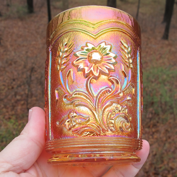 Antique Imperial Fieldflower Marigold Carnival Glass Tumbler