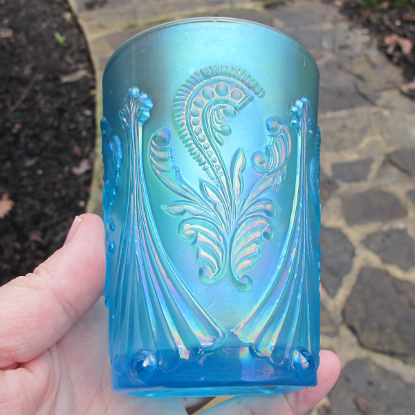 St. Clair Ice Blue Inverted Fan & Feather Carnival Glass Tumbler
