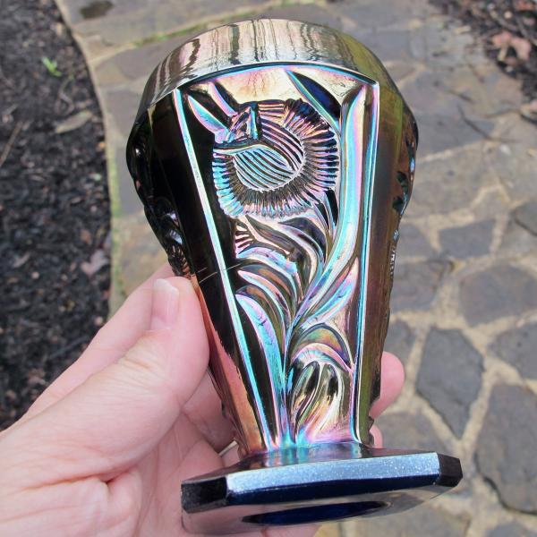 Antique Riihimaki (Finland) Blue Grand Thistle Carnival Glass Tumbler