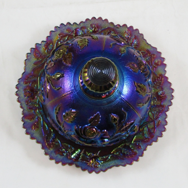 Antique Imperial Purple Lustre Rose Carnival Glass Butter Dish