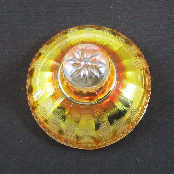 Antique Northwood Marigold Peacock at the Fountain Carnival Glass Sugar Lid Only