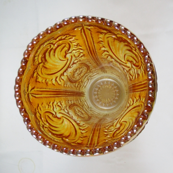 Imperial Marigold Scroll & Flower Panels Carnival Glass Cupped In Vase