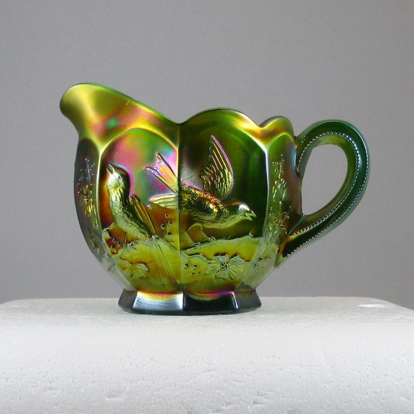 Antique Northwood Singing Birds Green Carnival Glass Creamer