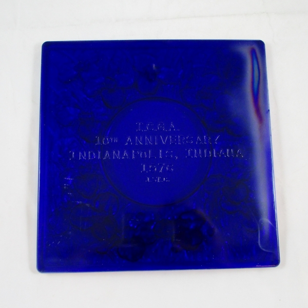 St. Clair Cobalt Blue Iris Carnival Glass Picture Frame