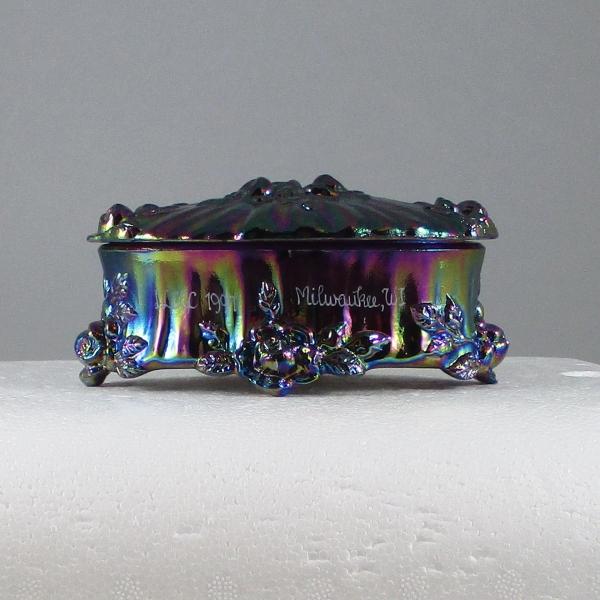 Fenton Plum Purple Rose Carnival Glass Trinket Box