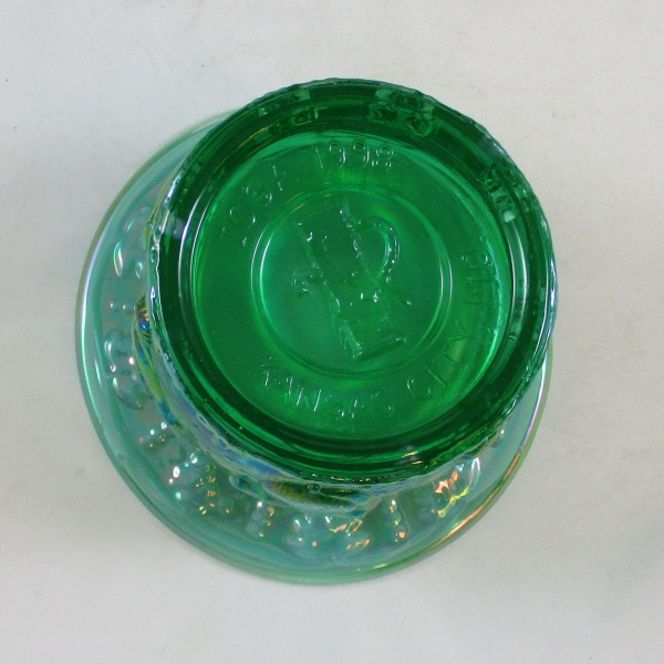 Fenton Green Opal Frolicking Bears Carnival Glass Spittoon
