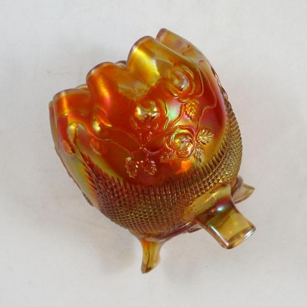 Antique Northwood Finecut & Roses Marigold Carnival Glass Rose Bowl