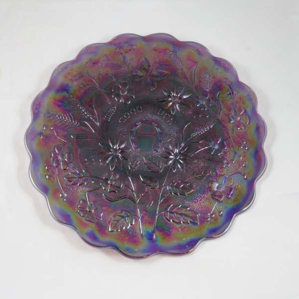 Fenton Amethyst Purple Good Luck Carnival Glass Chop Plate