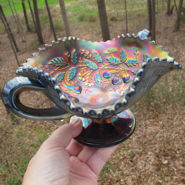 Antique Northwood Fruits & Flowers Amethyst Carnival Glass Bon Bon