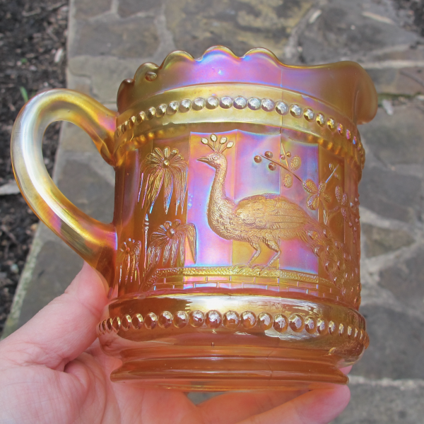 Antique Northwood Peacock at the Fountain Marigold Carnival Glass Creamer