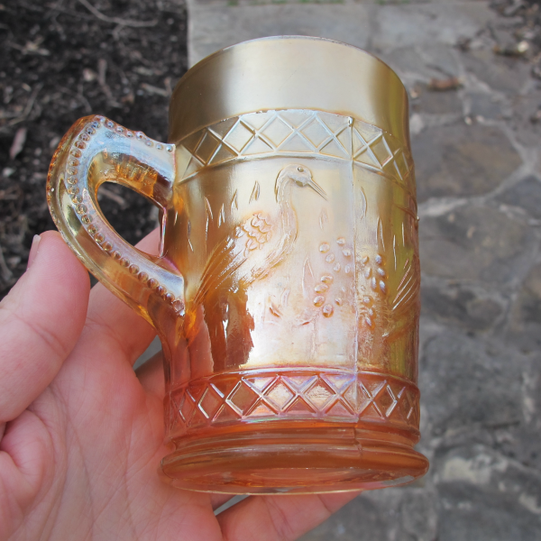 Antique Dugan Stork & Rushes Lattice Band Marigold Carnival Glass Mug