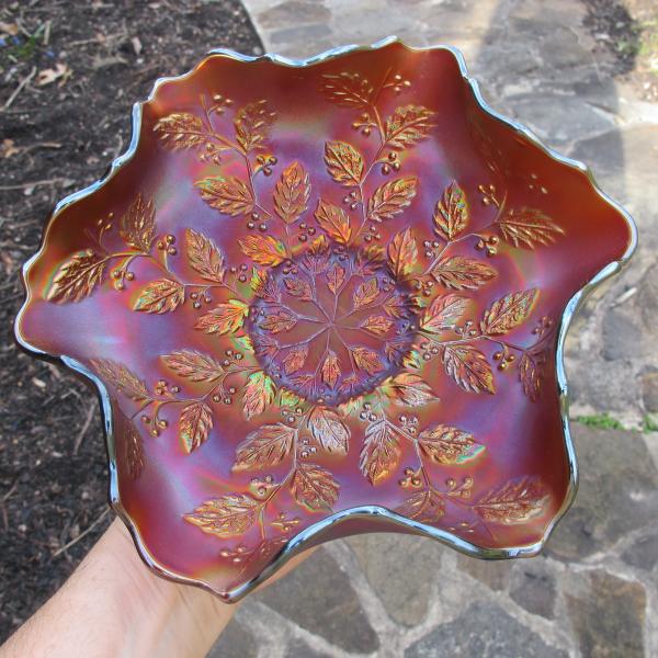 Antique Fenton Holly Fiery Amethyst Carnival Glass Bowl
