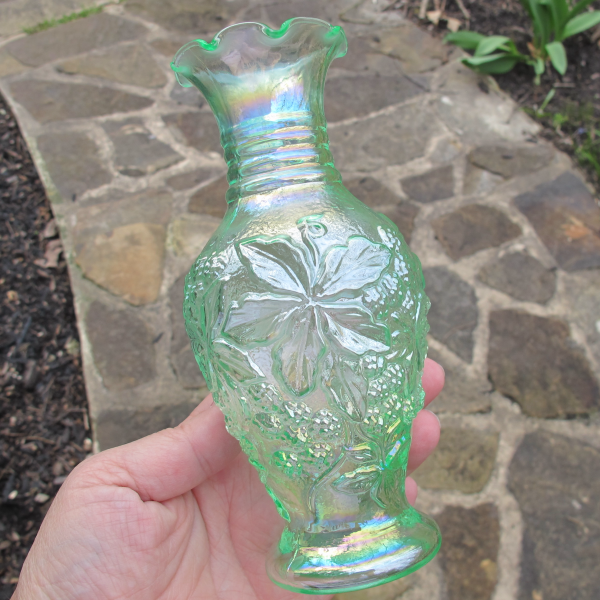 Lenox Imperial Ice Green Loganberry Carnival Glass Small Vase