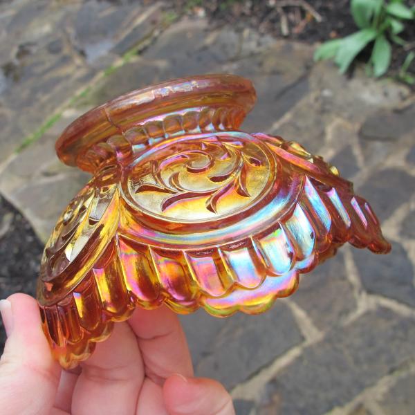 Antique Dugan Circle Scroll Pumpkin Marigold Carnival Glass Small Bowl