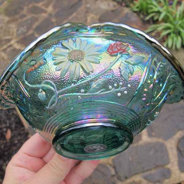 Fenton Teal Woodsland Pine Painted Carnival Glass Bowl Whimsey - Multicolored Paint!