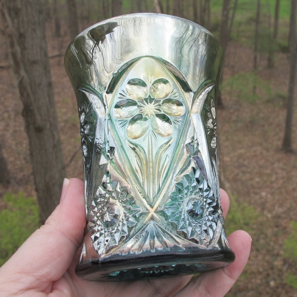 Antique Imperial Aqua Teal Four Seventy Four Carnival Glass Tumbler