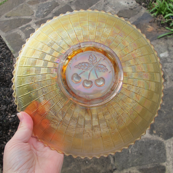 Antique Northwood Three Fruits Marigold Carnival Glass Plate