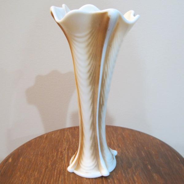 Antique Northwood Nutmeg Stained Drapery Custard Glass Vase