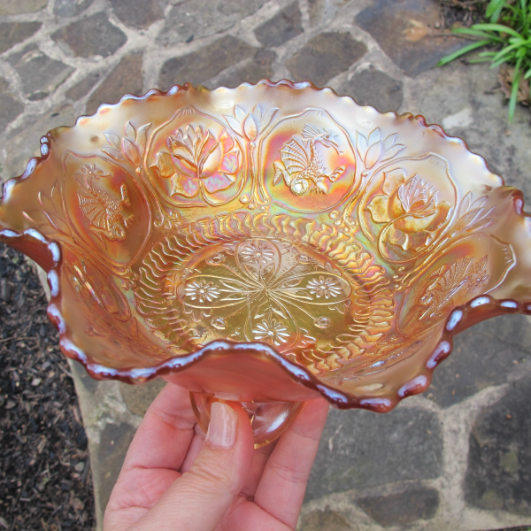Antique Fenton Dragon & Lotus Marigold Carnival Glass Footed Bowl